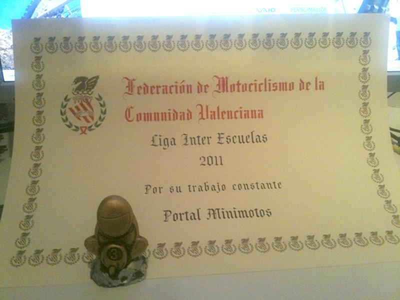 Diploma a portalminimotos Liga Inter Escuelas 2011
